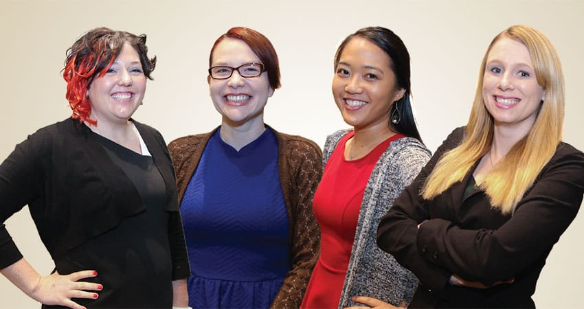 "Sponsor: Association for Library Service to ChildrenProject Your Path to Youth Leadership Team J (from left): Christine Gaffney, Sarah Gowdy, Tori Ann Ogawa, Sara White""The future of the library profession is unknown and unpredictable, because the communities we serve are ever-changing. The profession will change and develop concurrently. We will design and re-create our programs, services, collections, and space to make the library a facilitator of learning and growth for everyone. We will be the connection between the people we serve and other community organizations. We will be the place families, friends, and colleagues gather to exchange ideas, play, learn, discover, inquire, and make lasting connections and memories. Library professionals will be change leaders striving to find ways to better communities beyond the physical walls of our libraries.""—Tori Ann Ogawa"