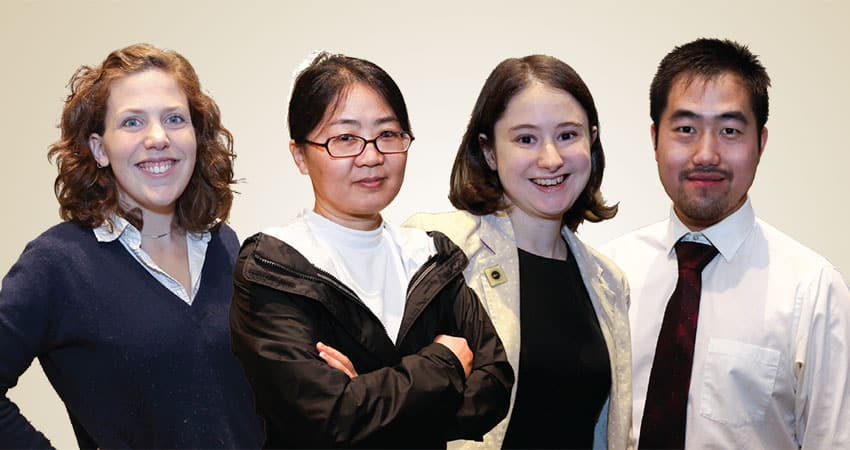 "Sponsor: Chinese American Librarians AssociationProject CALA-SYSTeam E (from left): Nitra Eastby, Jingjing Wu, Kate McNamara, Minhao Jiang ""As our relationship with technology and the internet evolves, more people will turn to librarians for advice—whether it is discerning fake news from legitimate sources, learning how to use the latest devices, determining fair use and copyright guidelines, or sifting through growing digitized archives. Library professionals will play a critical role in reimagining the spaces and tools necessary for productivity in our progressively connected society. They are already some of the first people called on to respond as our culture becomes more diverse and collaborative, and they will only continue to take on that responsibility."" —Nitra Eastby"