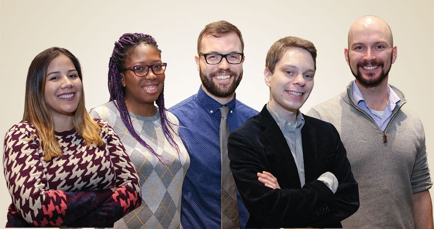 "Sponsor: Gay, Lesbian, Bisexual, and Transgender Roundtable (GLBTRT)Project: GLBTRT ArchiveTeam I (from left): Ariana Santiago, Fobazi M. Ettarh, Lucas McKeever, Andrew Grissom, Stewart Van Cleve""The future of libraries cannot be divorced from the sociopolitical climate of the country. We have elected a president who challenges many of the core values of librarianship. Moving forward, libraries can be places of resistance through their continued mission to serve their diverse communities. Just as libraries opposed the Patriot Act, libraries can resist legislation that would prevent access to information. Just as the Ferguson (Mo.) Municipal Public Library stayed open during crisis, libraries can continue being centers for intellectual freedom, education, and diverse voices and peoples.""—Fobazi M. Ettarh"