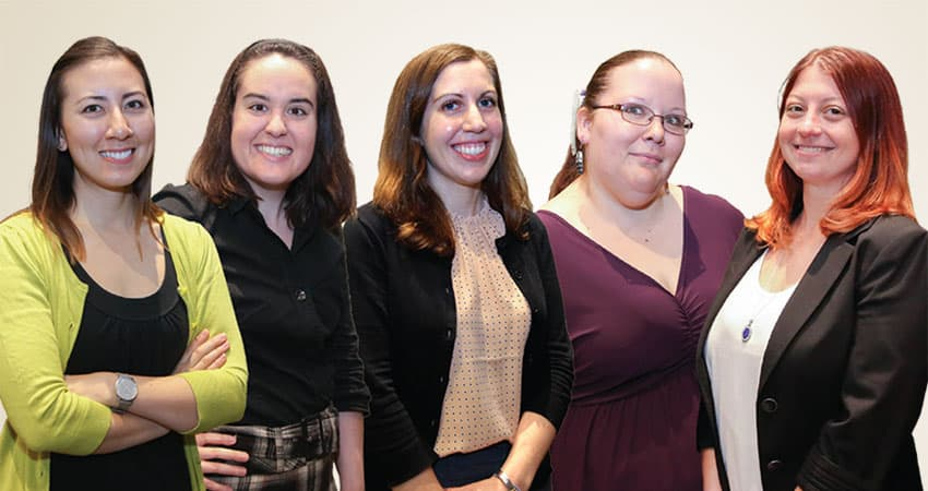 "Sponsor: International Relations Round TableProject: Building and Enhancing Global Connections through Sister Libraries Team C (from left): Stacy Gilbert, Melissa West, Anna Sandelli, Joy Bridwell, Lisa Blake Not pictured: Derek Cornelison""The future of the library profession will be what it has always been: helping people find and use information. However, information is no longer confined to books, primary documents in archives, or newspapers—it can be found on a television show, website, cellphone app, or any number of new media. Librarians' future roles will be to help people navigate new and emerging information sources and make vast amounts of information useful and accessible."" —Stacy Gilbert"