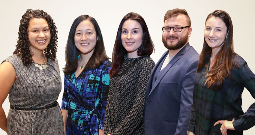 "Sponsor: Library and Information Technology AssociationProject: Building Leadership in Virtual EngagementTeam D (from left): Catie Sahadath, Jennifer Shimada, Jessica Bennett, Kyle Willis, Brianna Furcron""I suppose I do not see the fundamental nature of librarianship changing. We connect people with information. We will continue to do so regardless of information format or delivery system. From clay tablets to papyrus scrolls to printed books and now to digital books, librarians endure as gateways to an abundance of knowledge.""—Jessica Bennett"