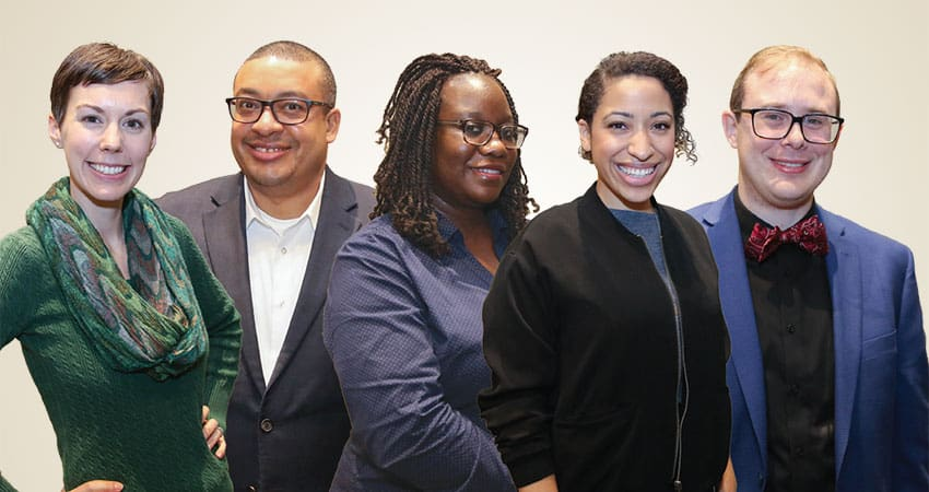 "Sponsor: Office for Diversity, Literacy, and Outreach ServicesProject: Developing a Clearinghouse for Equity, Diversity, and Inclusion Speakers Team G (from left): Sarah Gough, Mohamed Berray, Priscilla Dickerson, Laurel Johnson, David Kelsey""In the future, the profession will be more focused on enhancing its services by building stronger partnerships with city, state, and national organizations, businesses, and governments. The profession will continue to enhance the customer service experience by strengthening local partnerships that will lead to the design and delivery of exceptional, engaging, and meaningful community programming. The profession will continue to foster inclusion in deed and not merely word and be composed of individuals who are not only diverse in racial and ethnic backgrounds but also highly skilled and trained forward thinkers."" —Priscilla Dickerson"