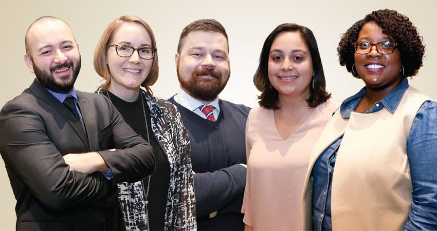 "Sponsor: Public Library AssociationProject: Advancing Diversity in Public LibrariesTeam A (from left): Antonio Apodaca, Bethany Wilson, Brian Hulsey, Petra Pendroff, Christina Fuller-Gregory ""The future of the library profession is hyperlocal. New leaders bring a rejuvenated focus on community outcomes. Simple, common-sense solutions are key as libraries get comfortable with what their neighborhoods really have to say. Moving forward, a concern for information literacy will be shared across traditionally siloed institutions calling for innovative public–private partnerships. Luckily for us, the secret is out: We know that the needs of the future will encompass the needs of right now. We know that for much of our work, the only difference between today and tomorrow is a number on the calendar.""—Antonio Apodaca"