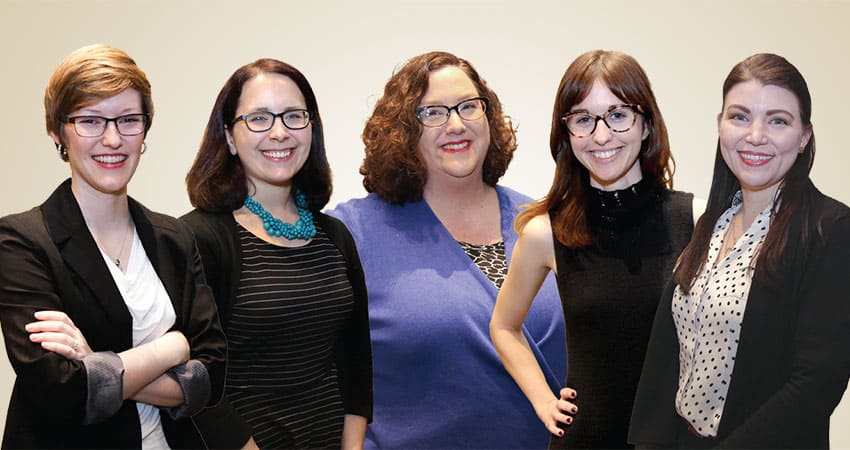 "Sponsor: Public Library AssociationProject: More Than Your MLIS: Experience and Continuing Education Recommendations for Emerging Public Library LeadersTeam H (from left): Casey McCoy, Heather Thompson, Heather Novotny, Sarah Colombo, Kristin Amsden""Within public libraries, I see the profession moving toward specialization and individualized services. There is already a growing trend toward specialization, especially within the realms of programming and technology. This helps organizations evolve by making use of diverse viewpoints and skills, and helps the communities those organizations serve by offering a variety of talents and interests. Through on-the-fly programming and one-on-one services like Book a Librarian, there is a clear movement toward tailored services to individual needs.""—Sarah Colombo"