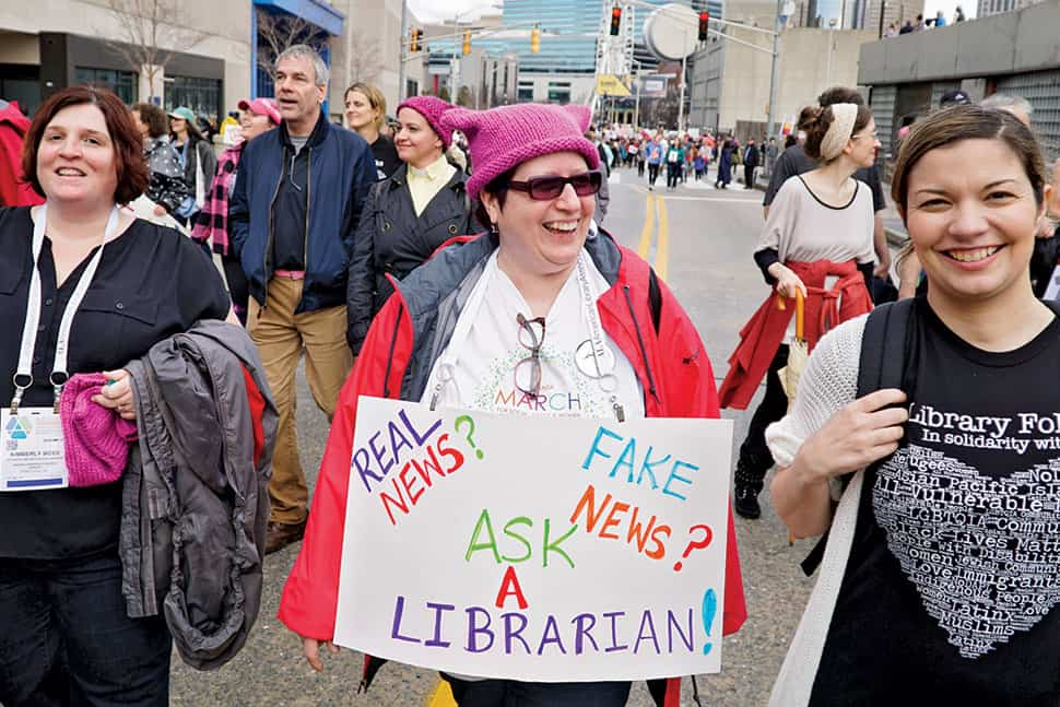 Library professionals joined the Atlanta March for Social Justice and Women on January 21. Photo: Cognotes