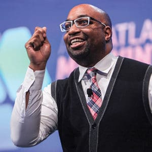 "Kwame Alexander at the ALA President's Program. <span class=""credit"">Photo: Cognotes</span>"