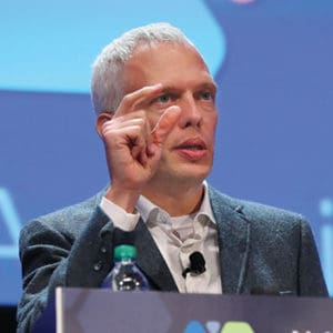 "Urban planner Ryan Gravel gives the Arthur Curley Memorial Lecture. <span class=""credit"">Photo: Cognotes</span>"