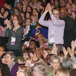 "Hundreds of librarians react as the Youth Media Awards are announced. <span class=""credit"">Photo: Cognotes</span>"