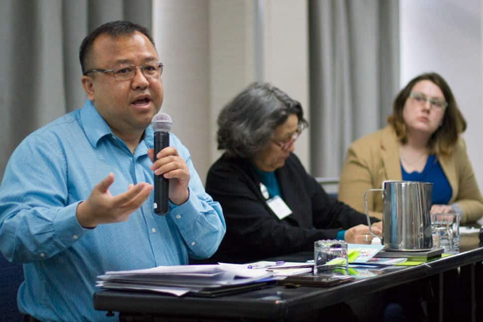 Touger Vang (left), public services coordinator at Yolo County (Calif.) Public Library, speaks to attendees at the Project Welcome summit on February 6. Photo: Rebecca Lomax/American Libraries