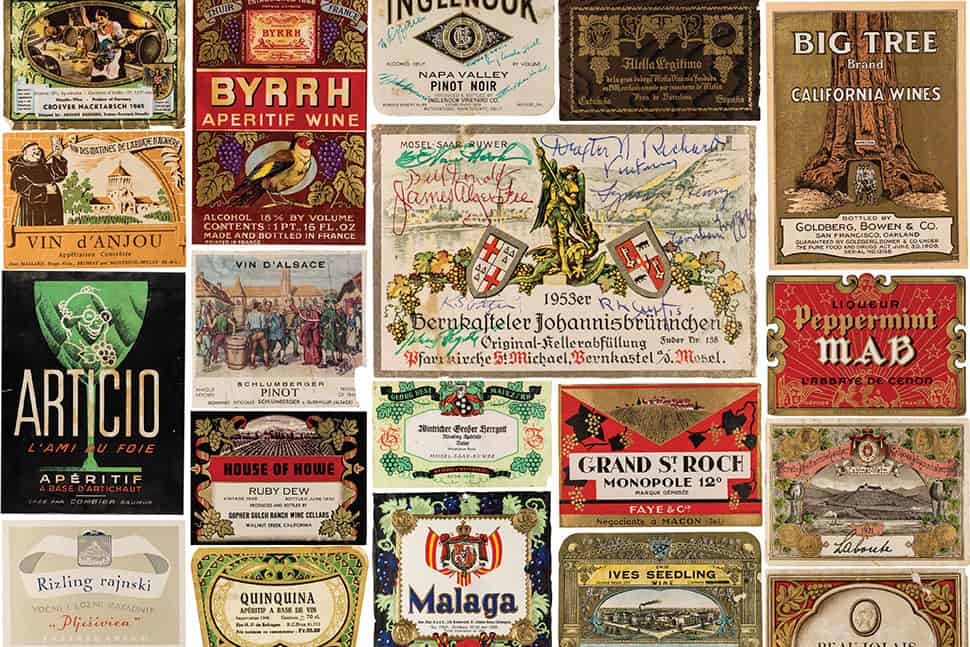 These wine labels are part of the Shields Library's special collection at University of California, Davis. Some labels list the names of people who shared bottles with viticulture and enology professor Maynard Amerine. Photos: © UC Davis Library/Special Collections