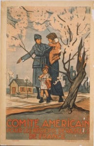 This poster promoting the Comité Americain pour les Régions Dévastées de France shows an American woman in a military uniform helping a mother with two small children. Image: Library of Congress