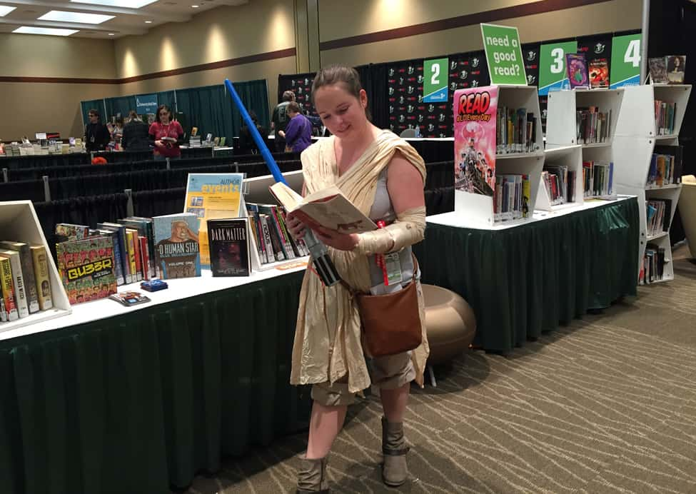 Jessica Andrews (as The Force Awakens' Rey) reads The Paper Menagerie and Other Stories by Ken Liu, as recommended by the librarians at Emerald City Comicon's Pop-Up Library.