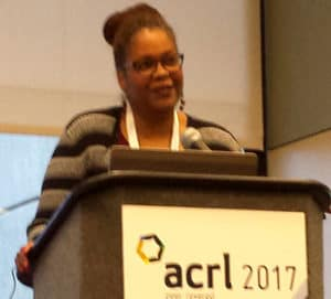 Petrina Jackson, head of special collections and university archives at Iowa State University, speaks at the ACRL conference.