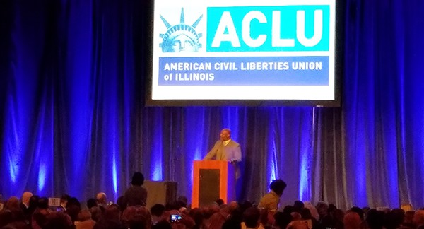 Jelani Cobb speaks at the ACLU of Illinois luncheon, March 17, 2017.