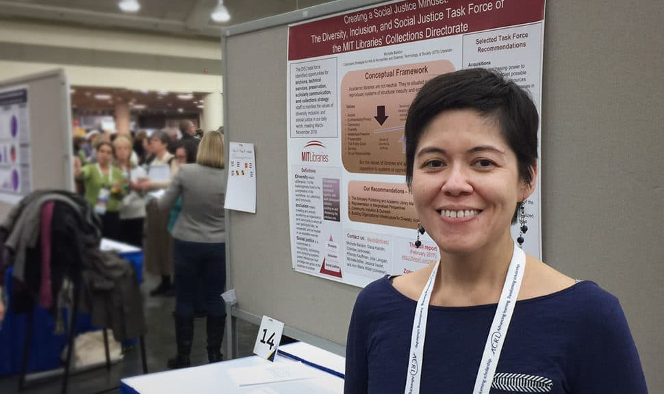 "Michelle Baildon, collections strategist for arts and humanities and a science, technology, and society librarian, presented a poster March 23 at ACRL titled ""Creating a Social Justice Mindset."""