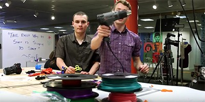 QE Adventures makes fidget spinners at the Charlotte Mecklenburg Library Idea Box. Screenshot from video