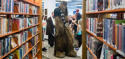Scene at a library comic con