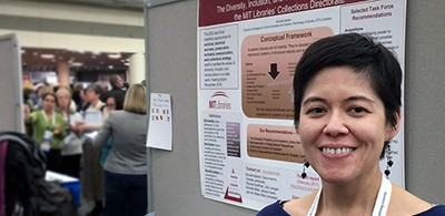 "Michelle Baildon, collections strategist for arts and humanities and a science, technology, and society librarian, presented a poster March 23 at ACRL titled ""Creating a Social Justice Mindset"""