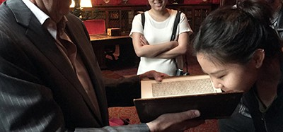Carlos Benaim invited Jane Kang to smell a 16th-century book at the Morgan Library