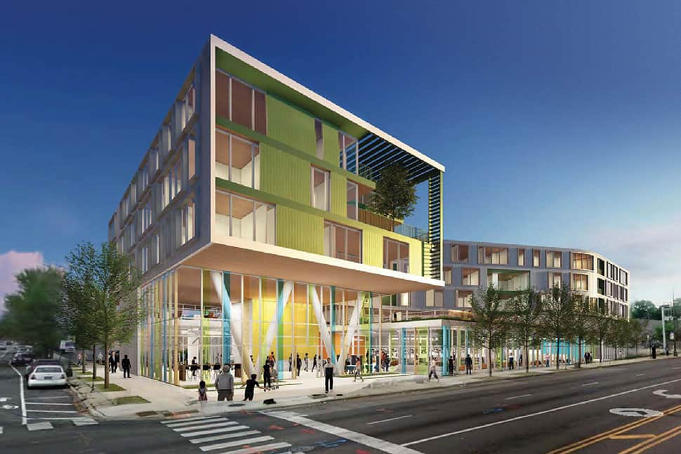 Chicago's Northtown library branch, shown here in a rendering, will have a ground-floor library with senior housing above.