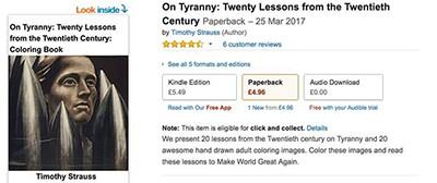 Fake On Tyranny coloring book on UK Amazon