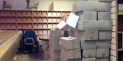 A still image taken from video footage shows empty shelves and cardboard boxes with books at the Library of Ukrainian Literature in Moscow, Russia, March 9, 2017. Video footage by Nikolai Isayev for Reuters