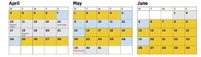 2017 Congressional calendar, April-June