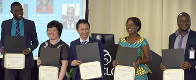 2017 OCLC Fellows: (from left) Eric Nelson Haumba, YMCA Comprehensive Institute, Uganda; Sharisse Rae Lim, National Library of the Philippines; Nguyen Van Kep, Hanoi University, Vietnam; Patience Ngizi-Hara, The Copperbelt University, Zambia; and Jerry Mathema, Masiyephambili College, Zimbabwe
