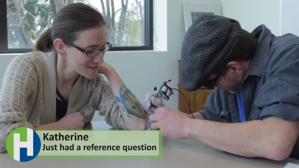 Image from Hillsboro (Oreg.) Public Library's video of its take-home tattoo gun for April Fools' Day.