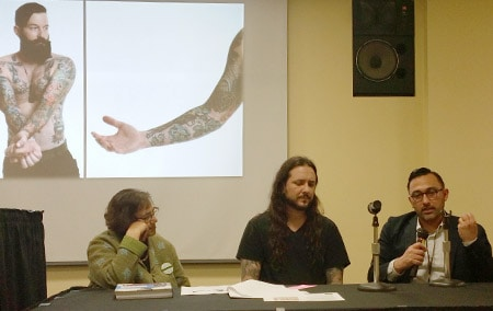 "Panelists Alaka Wali, David Allen, and Chris Brown at ""The Walking Art Collection: How Tattoos Tell Stories of Identity."""