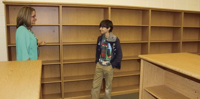 Empty shelves at Risley Middle School