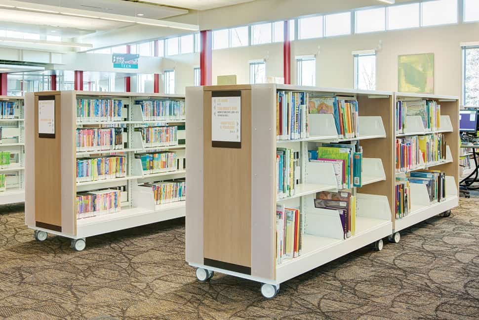 Spacesaver cantilever shelving units on casters at the Glendale branch of the Salt Lake City Public Library
