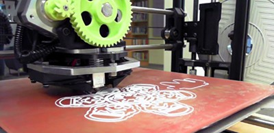 A 3D printer in action at the Health Sciences and Human Services Library, University of Maryland, Baltimore