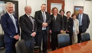 The Montana delegation (from left): Kenning Arlitsch, dean of Montana State University (MSU) Renne Library in Bozeman; Bruce Newell, chair of Montana Library Commission in Helena; Sen. Jon Tester (D-Mont.); Ann Dutton Ewbank, director of the MSU School Library Certificate Program; Heather Dickerson, teen services librarian at Lewis and Clark Library in Helena; Jennie Stapp, Montana state librarian; Bernadine Abbott Hoduski, Montana native and retired librarian of the US Joint Committee on Printing for 25 years; and John Finn, director of Lewis and Clark Library.