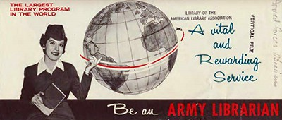 The cover of an armed services librarianship career information brochure, circa 1963, found in Record Series 29/10/8