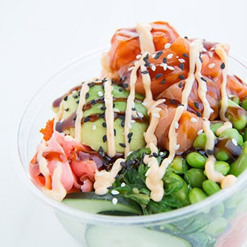 Aloha Poke Co.'s P.Y.O.B. (Pack Your Own Bowl) at Revival Food Hall. Photo: Alain Milotti