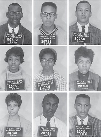 The Tougaloo Nine: (From top left) Joseph Jackson Jr., Albert Lassiter, Alfred Cook, Ethel Sawyer, Geraldine Edwards, Evelyn Pierce, Janice Jackson, James Bradford, and Meredith Anding Jr.
