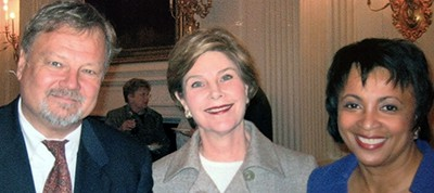 Keith Michael Fiels with then–First Lady Laura Bush and then–ALA President Carla Hayden in 2003