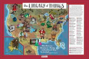 The Library of Things pull-out poster, illustrated by Brian Mead.
