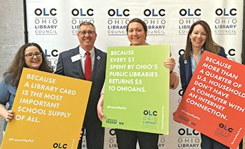 Doug Evans (second from left), executive director of OLC, with Ohio library directors (from left) Jessica Hermiller, Amanda Bennett, and Elizabeth Muether at OLC's 2017 Legislative Day.