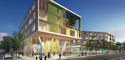 Chicago's Northtown library branch, shown here in a rendering, will have a ground-floor library with senior housing above
