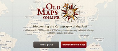 Opening screen of Old Maps Online
