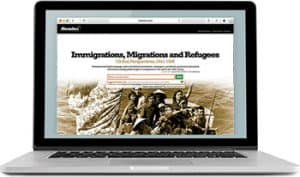 An image of a laptop computer displaying the search page for Immigrations, Migrations, and Refugees