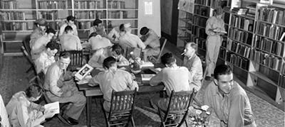 Servicemen at a Louisiana library, circa 1942