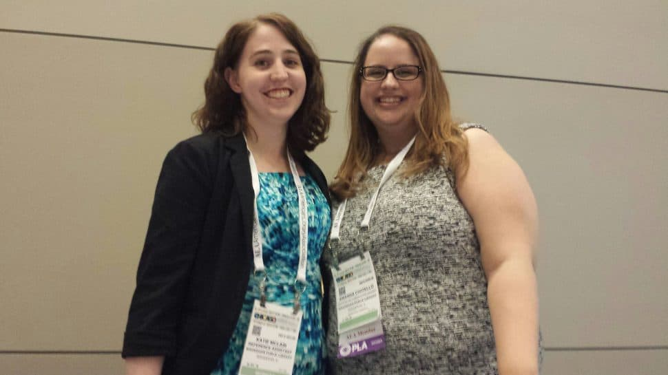 Katie McLain (left), reference assistant, and Amanda Civitello, marketing and communications manager, Waukegan (Ill.) Public Library.