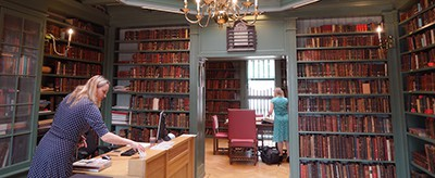 Staff preparing the Ets Haim Jewish library in Amsterdam for a tour, May 17, 2017. Photo by Cnaan Liphshiz