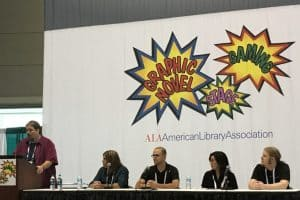 "(L-R): Donald Dennis, Sito Sanchez, Anthony Boyd, Yumi Hoashi, and Michael Parker at ""Tabletop Games 101"""