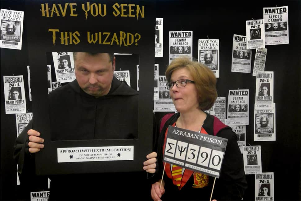Gala attendees enjoy the Harry Potter-themed photo booth. Photo: New Lenox (Ill.) Public Library District