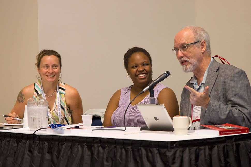 From left: Marguerite Avery, April Hathcock, and Jamie LaRue (speaking) at the American Library Association's 2017 Annual Conference and Exhibition in Chicago on June 24, 2017. Photo: Rebecca Lomax/American Libraries