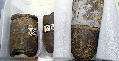 Civil War era shells that were found in a closet of the Gleason Public Library. Photo: Carlisle Police Department